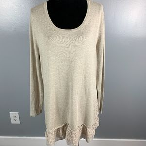 Style & Co. Long Sleeve Tunic with Lace Detail XL
